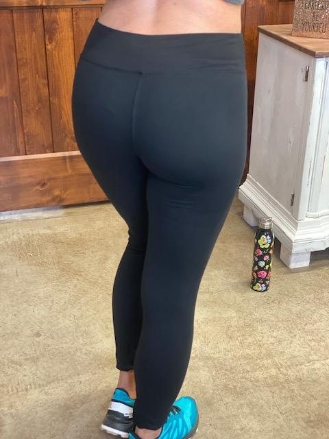 Black Signature Soft Leggings Yoga Band