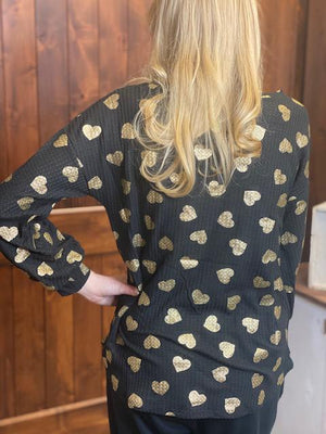 Be Mine Black Waffle Knit Top with Black and Gold Hearts