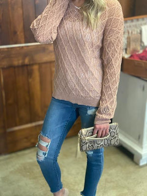 Cathy Rosy Peach V-Neck Airy Sweater