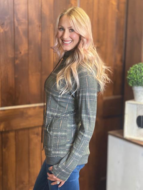 Pretty in Plaid Hoodie in Olive