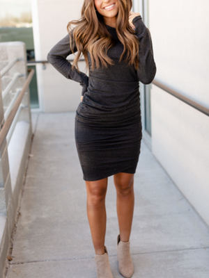 Kloee Ruched Long Sleeve Dress - Charcoal
