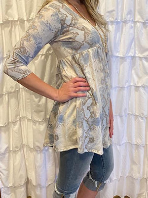 Skya 3/4 Sleeve Blue and Gray Snake Skin Print Dress