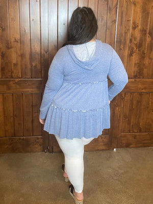 Capri Tiered Cardigan in Blue