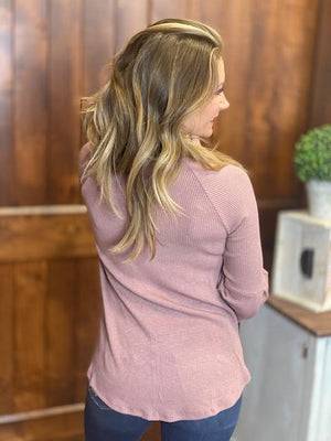 Abigail Ribbed Top with Bell Sleeves - Mauve