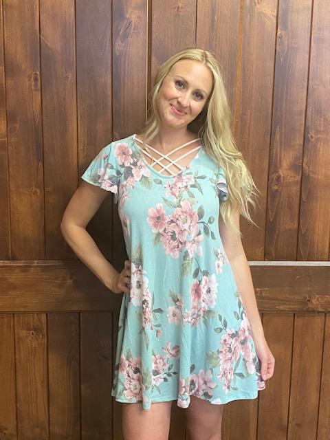 Whitney Mint Floral Short Sleeve Dress