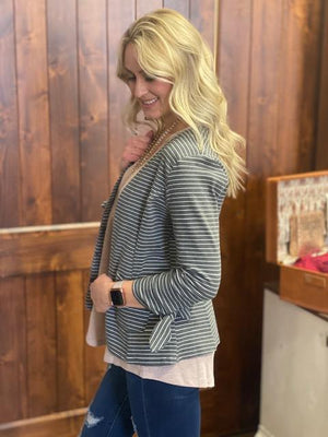 Tessa Charcoal and White Open Striped Blazer with Tie Sleeves