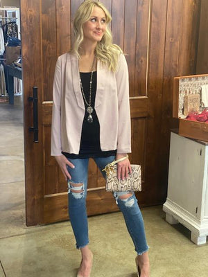 Lana Lightweight Blazer with Ruched Sleeves - Blush