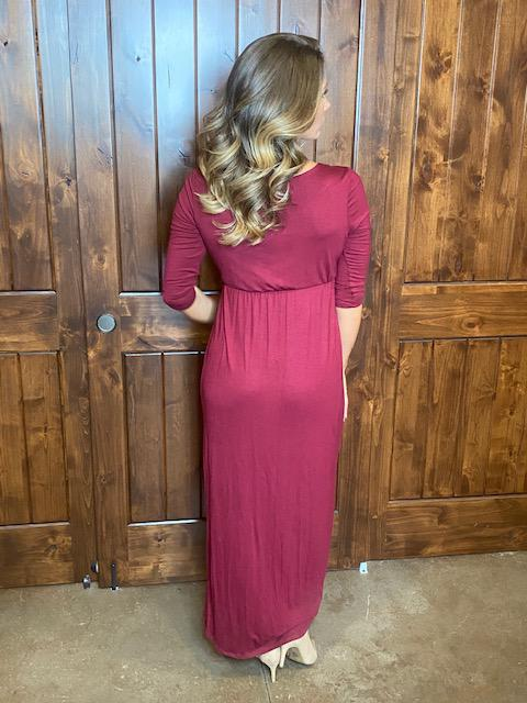 Berlin High Low Burgundy Maxi Dress