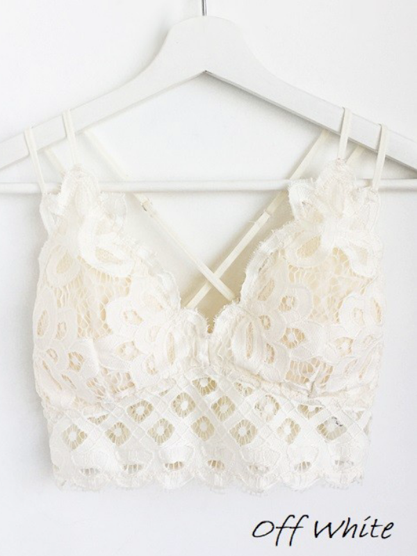 Scalloped Lace Padded Strappy Bralette - Ivory