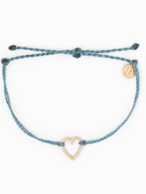 Pura Vida Charm Bracelet - Open Heart - Dusty Blue