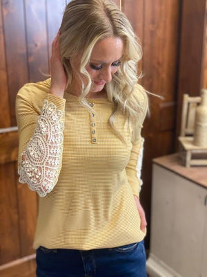 Eva Light Yellow Crochet Sleeve Top