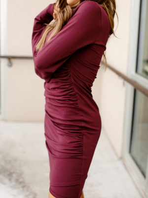 Kloee Ruched Long Sleeve Dress - Wine