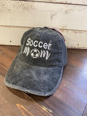 Soccer Mom Charcoal Distressed Ponytail Hat
