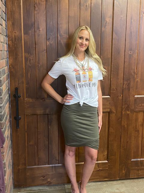 Kloee Ruched Pencil Skirt - Army