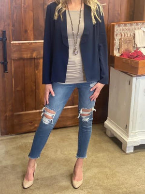 Lana Lightweight Blazer with Ruched Sleeves - Navy