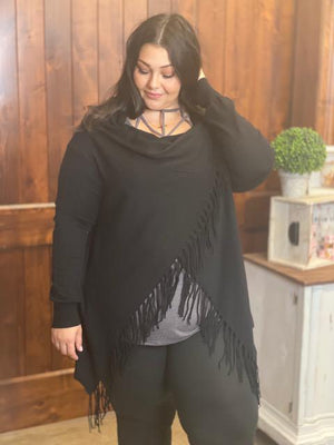 Grace Long Sleeve Black Fringe Cardigan