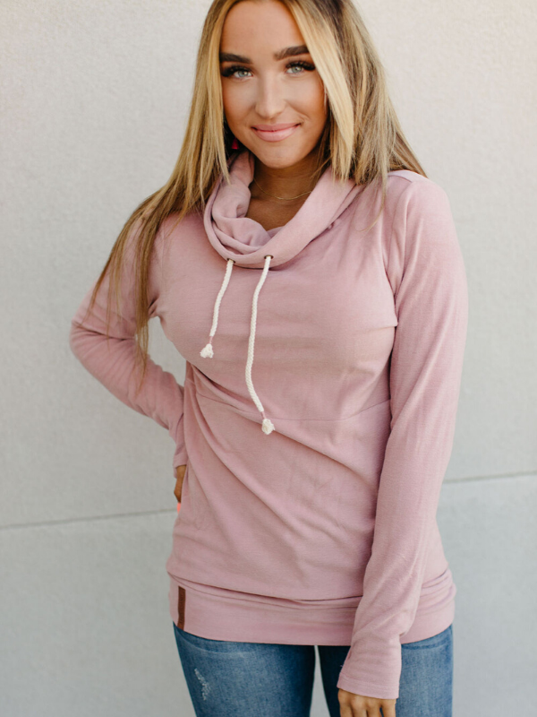Partial to Pink Cowl Neck Hoodie