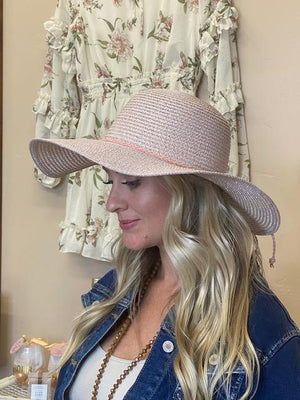 Malibu Sparkly Floppy Beach Hat - Pink