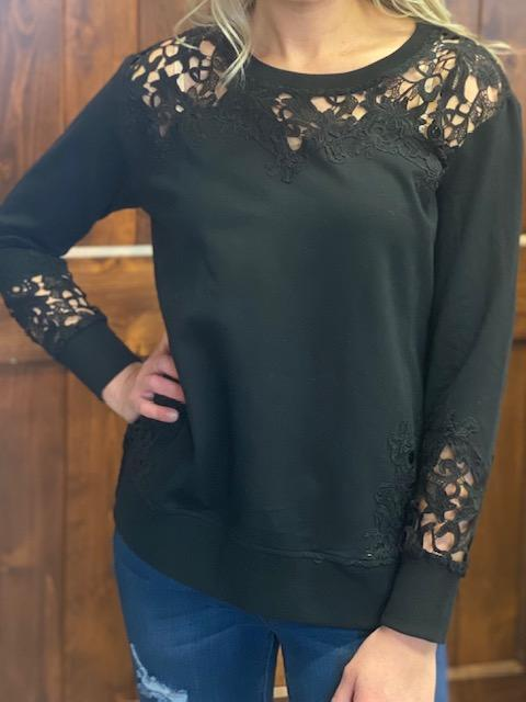Carmen Black Lace Detail Sweatshirt