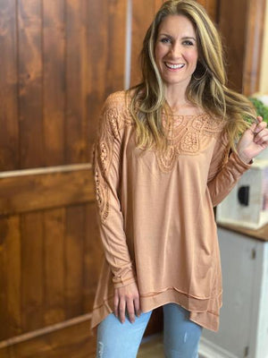 Kori Oversized Mixed Jersey Top with Crochet Detail in Apricot