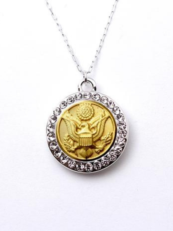 Army Button Necklace - Rhinestone Silver Pendant