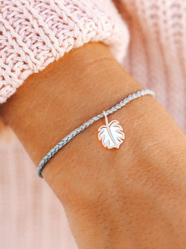 Pura Vida Charm Bracelet - Mother of Pearl Monstera Leaf - Rose Gold