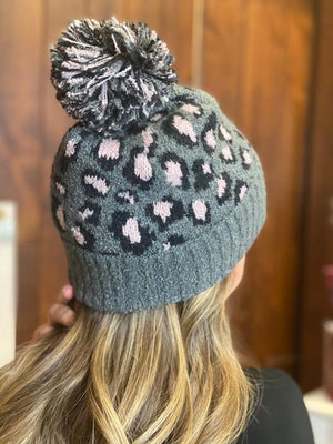 C.C Gray Leopard Jacquard Knit Beanie with Pom