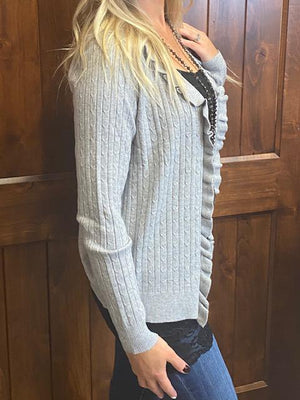 Skya Ribbed Cardigan - Gray