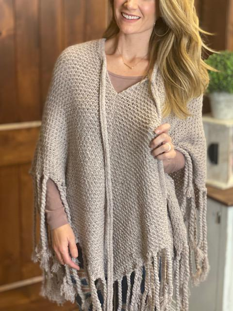 Katelyn Knit Poncho with Fringe and Tassels - Blush