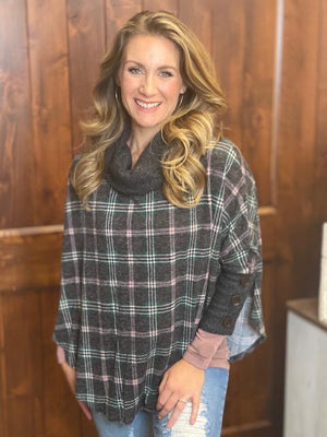 Kadynce Charcoal and Plaid Poncho