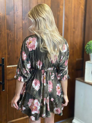 Alexa Pink & Brown Floral Dress