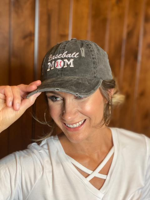 Baseball Mom Distressed Ponytail Hat