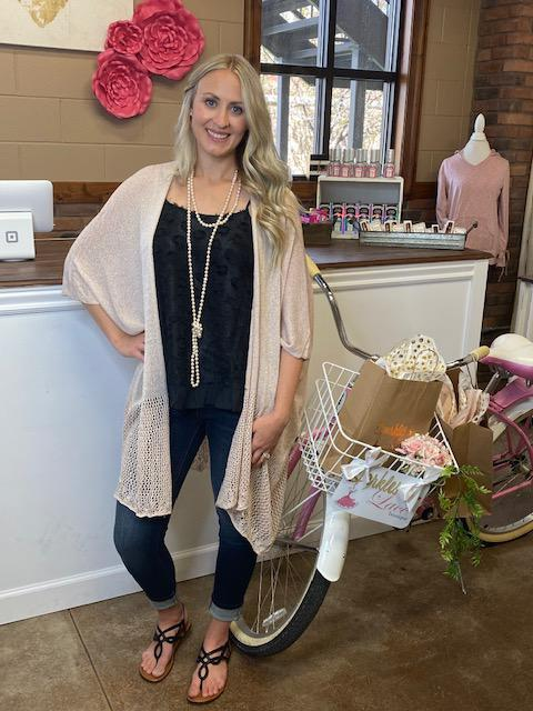 Downtown Glam Blush Shimmer Cardigan
