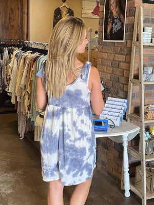 Jessa Tie Dye Dress with Bow Detail - Gray