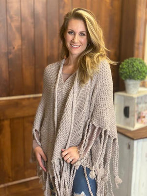 Katelyn Knit Sweater Poncho with Fringe and Tassels - Blush
