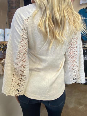 Mabel Belle Sleeve Sweater with Lace in Cream