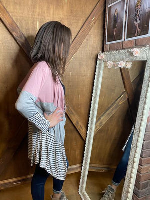 Shelby Mauve Colorblock Cardigan with Stripes