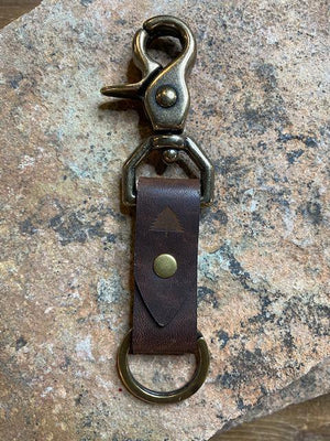 Pine Top Double Leather Keychain in Nut Brown