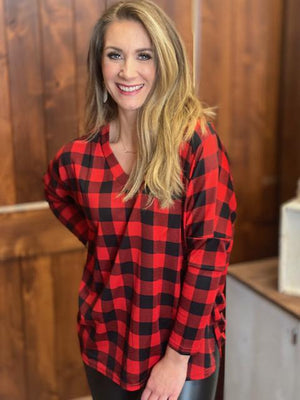 Bree Buffalo Plaid Oversized Ruched Top