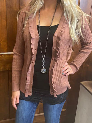 Skya Ribbed Cardigan - Rose