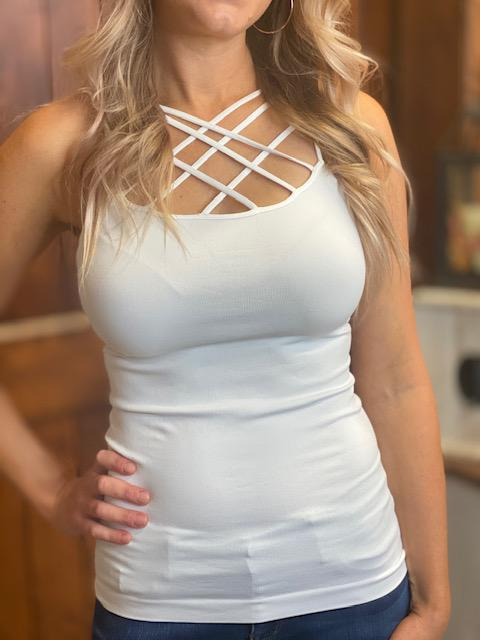 Criss Cross Cami - White