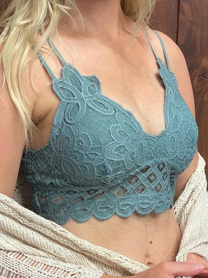 Scalloped Lace Padded Strappy Bralette - Teal