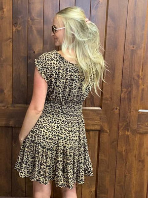 Fallon Leopard Print Ruffled Dress