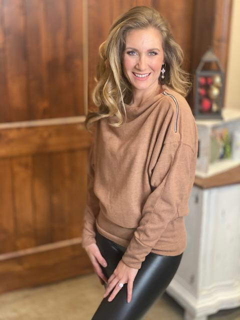Chanel Brown Sweater Top with Zipper Detail