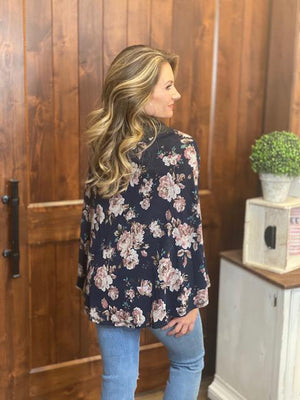 Anne Floral Poncho in Navy & Charcoal