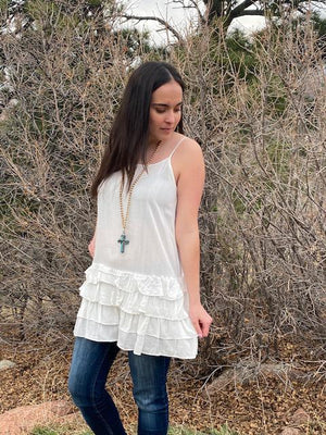Chloe Off White Ruffled Tank