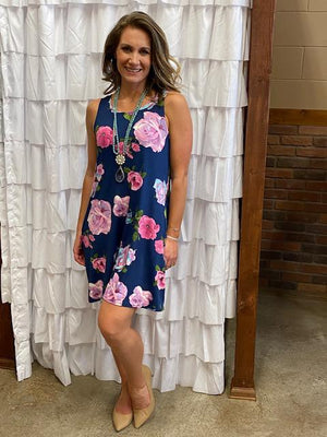 Leah Navy Floral Dress with Pockets