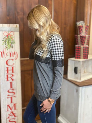 Stacked in Style Top with Black & White Gingham and Sequins