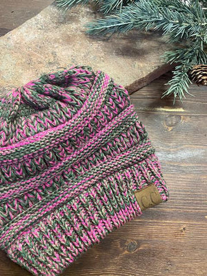 CC Four Tone Beanie - Olive and Magenta