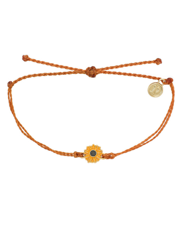 Pura Vida Charm Bracelet - Sunflower - Burnt Orange